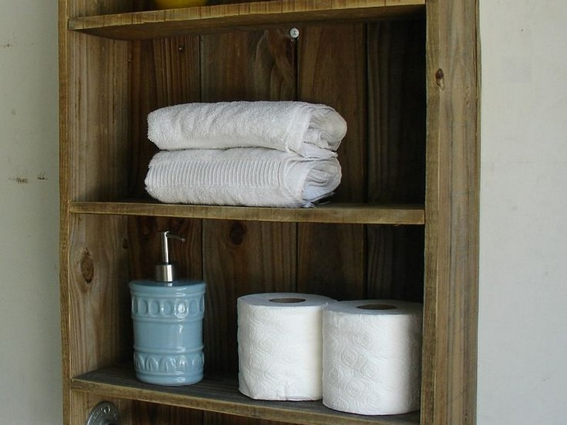 Wooden Bathroom Shelves With Towel Bar