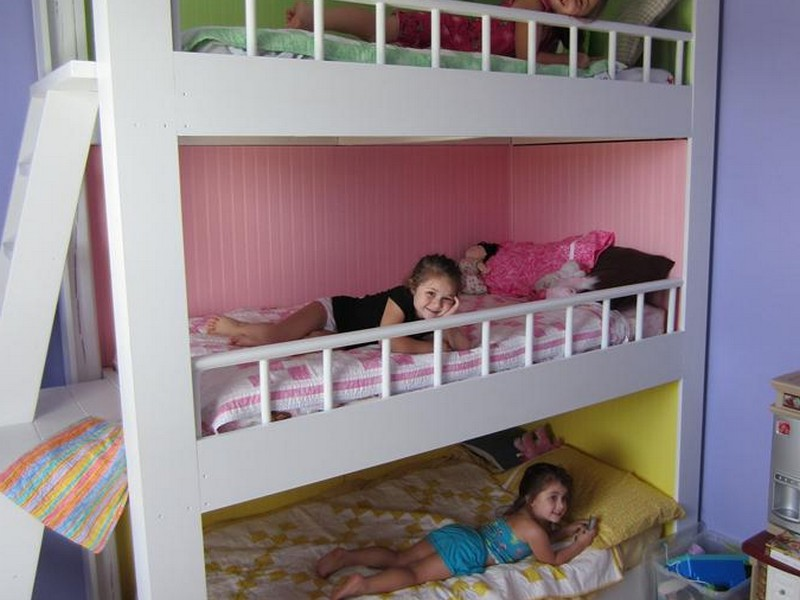 Wooden Bunk Bed With Staircase