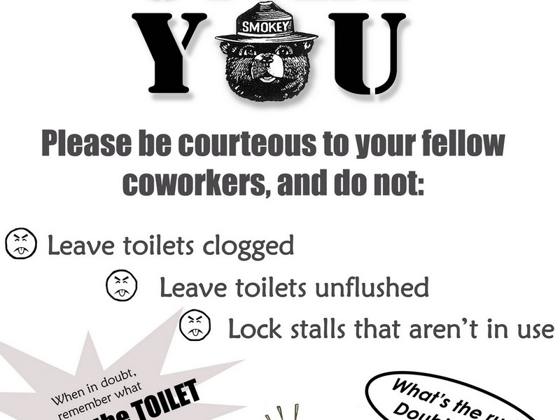 Workplace Bathroom Etiquette Signs