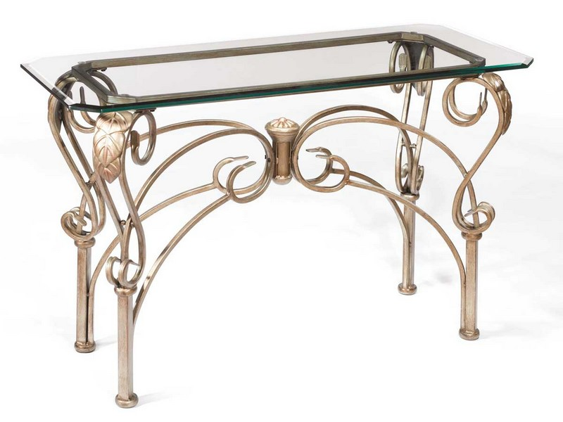 Wrought Iron And Glass Sofa Table