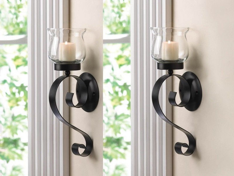 Wrought Iron Candle Wall Sconces Black