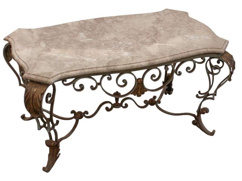 Wrought Iron Sofa Table With Marble Top