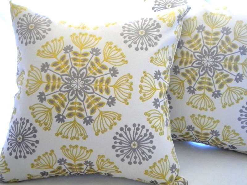 Yellow And Grey Accent Pillows