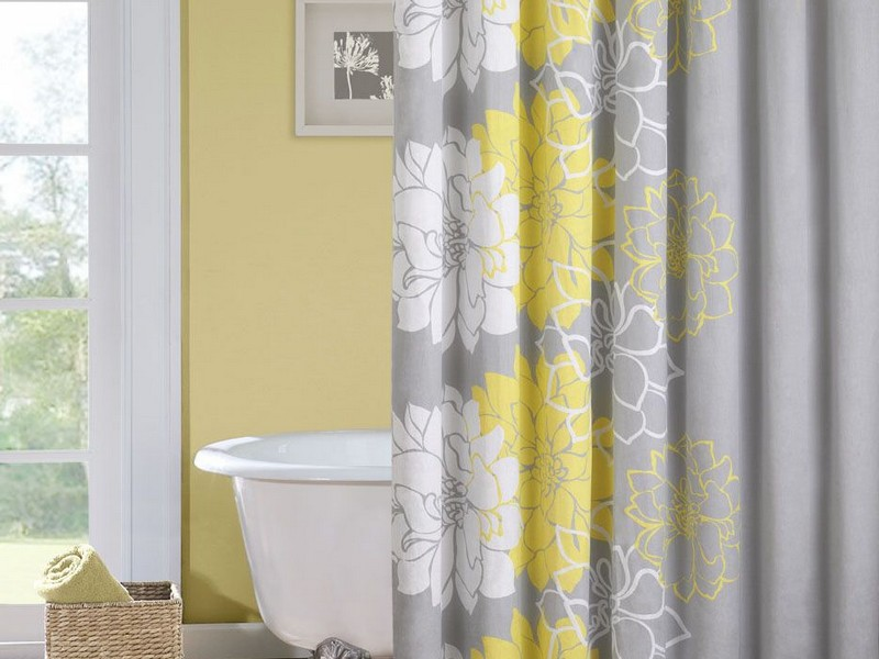 Yellow Gray And White Shower Curtain