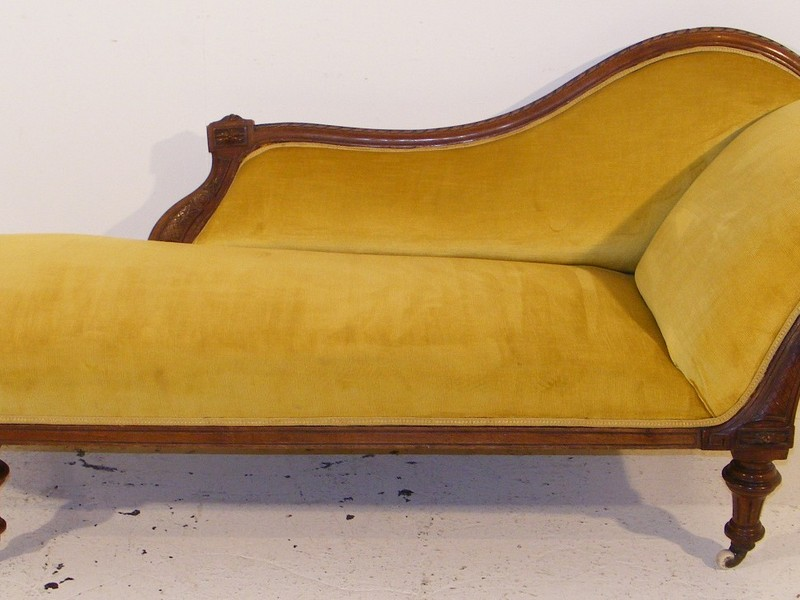 Yellow Leather Chaise Lounge