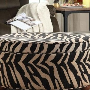 Zebra Print Storage Ottoman
